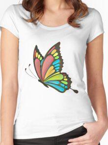 Pretty Rainbow Butterfly Art Women's Fitted Scoop T-Shirt