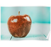 Fresh Red Delicious Apple On Turquoise Wood Table Poster