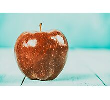 Fresh Red Delicious Apple On Turquoise Wood Table Photographic Print