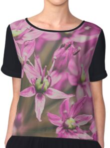 Allium Flowers Close Up Chiffon Top