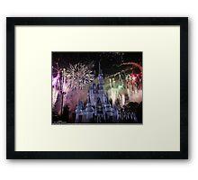 Cinderella's Castle Christmas Time durring Fireworks  Framed Print