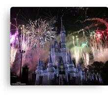 Cinderella's Castle Christmas Time durring Fireworks  Canvas Print