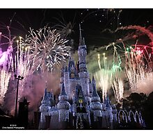 Cinderella's Castle Christmas Time durring Fireworks  Photographic Print