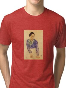 Egon Schiele - Portrait Of A Woman With Blue And Green Scarf 1914 Tri-blend T-Shirt