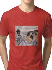 Claude Monet - On The Beach At Trouville 1871 Tri-blend T-Shirt