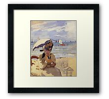 Claude Monet - Camille Sitting On The Beach At Trouville 1871 Framed Print