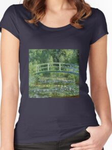 Claude Monet - The Japanese Bridge The Water Lily Pond Women's Fitted Scoop T-Shirt