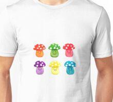 cute colorful mushrooms watercolor painting  Unisex T-Shirt