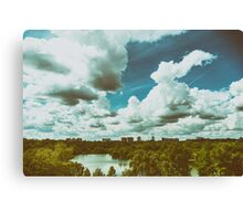 Bucharest City Skyline View From Youths Park (Parcul Tineretului) With Blue Sky And White Clouds Canvas Print