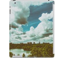 Bucharest City Skyline View From Youths Park (Parcul Tineretului) With Blue Sky And White Clouds iPad Case/Skin