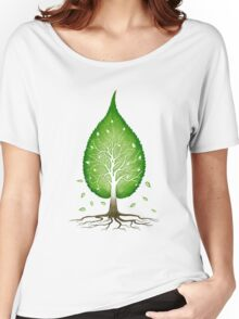 Green leaf shaped tree nature fractals concept art t-shirt design Women's Relaxed Fit T-Shirt