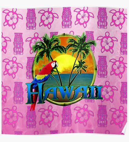 Hawaii Sunset Pink Tiki Poster
