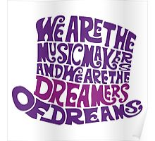 Willy Wonka Hat Dreams typography Poster