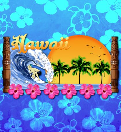 Hawaiian Surfing Blue Honu Sticker