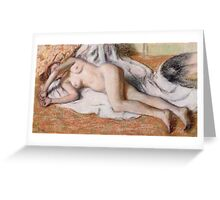 Edgar Degas - After The Bath Or, Reclining Nude Greeting Card