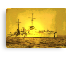 A digital painting of  Germany's First Battle Cruiser, the von der Tann WW1 Canvas Print