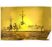 A digital painting of  Germany's First Battle Cruiser, the von der Tann WW1 Poster