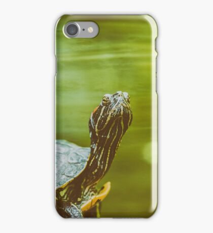 Pond Turtle Heating In The Sun On Rock In Lake Water iPhone Case/Skin