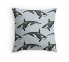 Orca on blue Throw Pillow