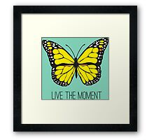 Live The Moment Inspirational Girly Butterfly Design Framed Print