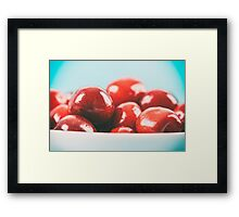 White Bowl Of Fresh Red Cherries Framed Print