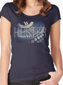 Vintage Typewriter Retro Hipster Design  Women's Fitted Scoop T-Shirt