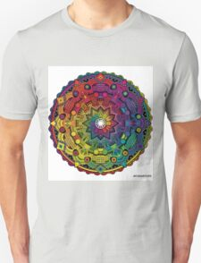 """Mandala 59 """"Time Dilation"""" Rainbow Multicoloured Unisex T-Shirt"""
