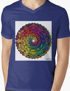 "Mandala 59 ""Time Dilation"" Rainbow Multicoloured Mens V-Neck T-Shirt"