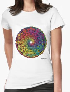 "Mandala 59 ""Time Dilation"" Rainbow Multicoloured Womens Fitted T-Shirt"