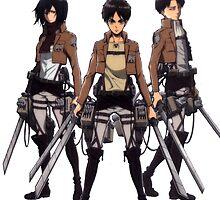 eren, mikasa and levi by rowankeenanx3