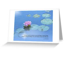 Serenity Prayer Pink Water Lily Greeting Card