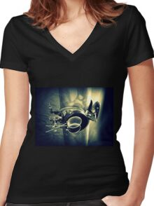 Steampunk Goggles 2.2 Women's Fitted V-Neck T-Shirt