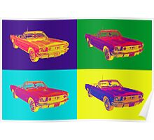 1965 Ford Mustang Convertible Pop Art Design Poster