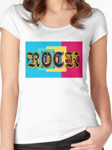 Colorful Happy Cool Rock Music Graphic Design Women's Fitted Scoop T-Shirt