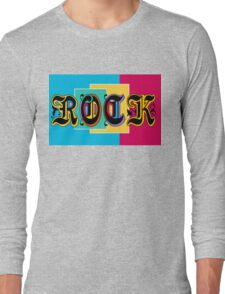 Colorful Happy Cool Rock Music Graphic Design Long Sleeve T-Shirt