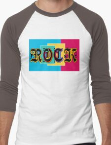 Colorful Happy Cool Rock Music Graphic Design Men's Baseball ¾ T-Shirt