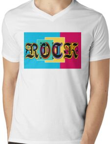 Colorful Happy Cool Rock Music Graphic Design Mens V-Neck T-Shirt