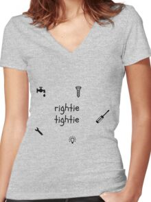 Rightie tightie for taps, screws, bulb, etc. Women's Fitted V-Neck T-Shirt