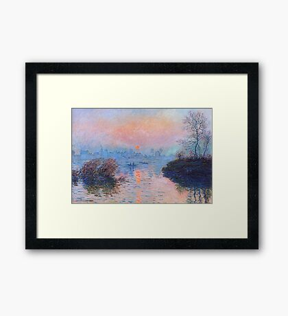 Claude Monet - Sunset On The Seine At Lavacourt Winter Effect Framed Print