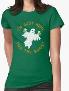 I'm Just Here For The Boos Funny Halloween Drinking Ghost Womens Fitted T-Shirt