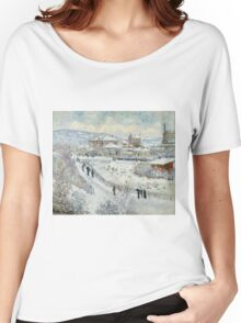 Claude Monet - View Of Argenteuil In The Snow Women's Relaxed Fit T-Shirt