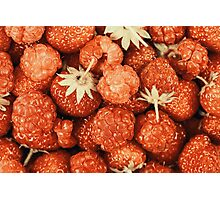 Raspberry And Strawberry Pile In Fruit Market Photographic Print