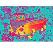 Colorful VW 21 window Mini Bus Pop Art image Photographic Print