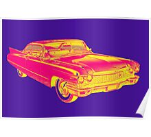 1960 Cadillac Luxury Car Pop Image Poster