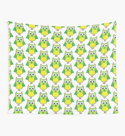 Lemon Lime Hoot Owl Wall Tapestry