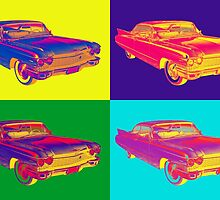 Colorful 1960 Cadillac Luxury Car Pop Art by KWJphotoart