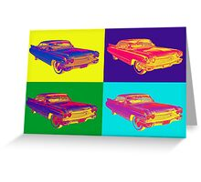 Colorful 1960 Cadillac Luxury Car Pop Art Greeting Card