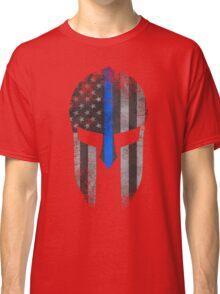 Blue Line American Flag Spartan Helm Classic T-Shirt