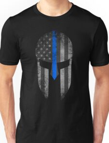 Blue Line American Flag Spartan Helm Unisex T-Shirt