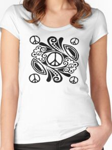 Peace Symbol Love Flower Women's Fitted Scoop T-Shirt